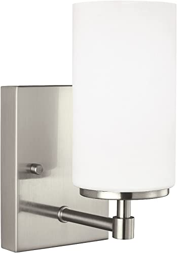 2021 Sea high quality Gull Lighting 4124601-962 Alturas Contemporary One - Light Wall/Bath Sconce Vanity Style Fixture, popular 1, Brushed Nickel online sale
