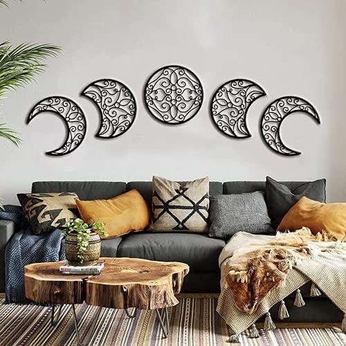 Moon Decoracion Pared, 5 Piezas hogar Decoracion Salon del Norte de Europa Moon Phase Nature Diseño, Pared Bohemia Dormitorio decoración de la Pared ✅