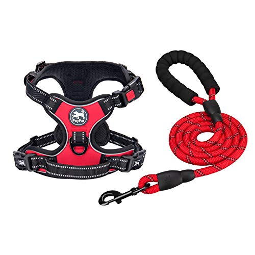 PoyPet Dog Harnessand Leash Combo,Escape Proof No Pull Vest Harness, Reflective Adjustable SoftPadded Pet Harness with Handle for Small to Large Dogs(Red,M)