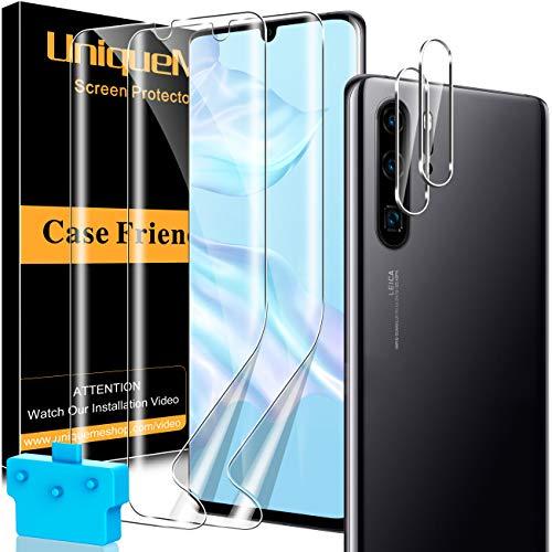 [2+2 Pack] UnqiueMe 2 Pack Schutzfolie Kompatibel mit Huawei P30 Pro Folie & 2 Pack Panzerglas Kamera Schutz, Bildschirmfolie [Maximale Reichweite] [Blasenfrei] Soft HD TPU Klar Bildschirmschutz