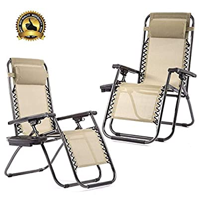 Set of 2 Zero Gravity Chairs Patio Reclining Folding Chairs w/Pillow Cup Holder BestMassage