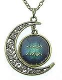 Collana segno acquario uomo donna simbolo zodiaco oroscopo zodiacale luna costellazioni bellissima idea regalo