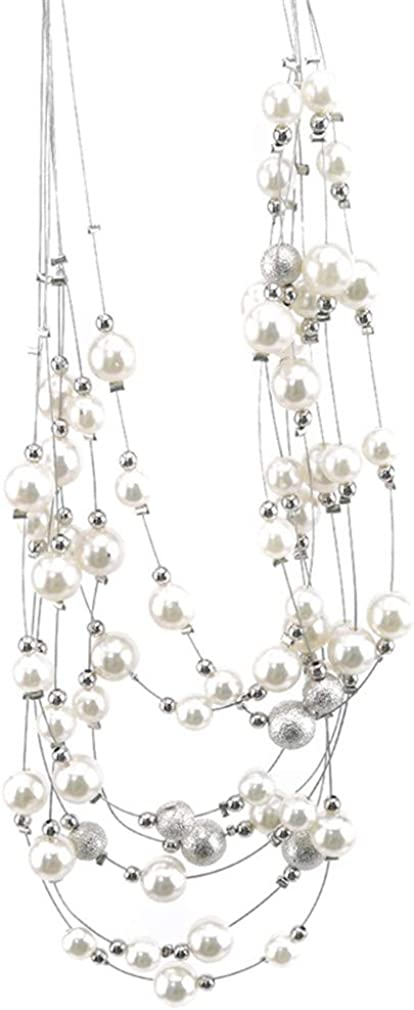 Timetries Pearl Necklace Set Multi Layer Pearl Strand Costume Jewelry Sets Pearl Statement Necklace and Earrings for Women
