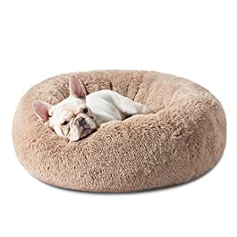 Bedsure Calming Bed for Dogs – Washable Round Dog Bed – 23/30 inches Anti-Slip Faux Fur Donut Cuddler Cat Bed – Fits up to 25/45 lbs, Camel, Self Warming