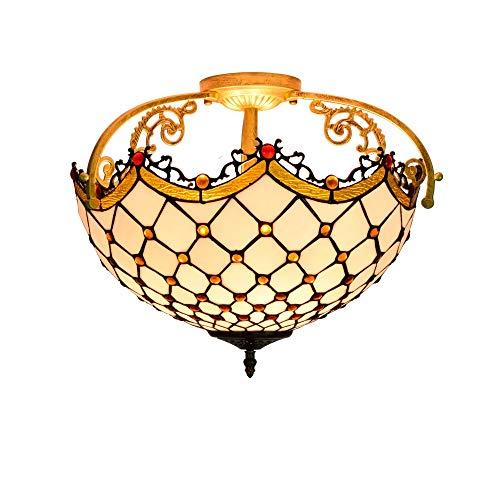 Estilo Tiffany accesorio de iluminación moderno co Luz de cristal de Tiffany perlas Stained Glass Style de 16 pulgadas La mitad de techo lámpara de techo de la lámpara pendiente de la sala de la lámpa