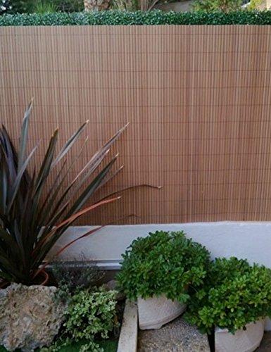 PEGANE Canisse en PVC Double Face en Rouleau Coloris Teck, 1,50m x 3m