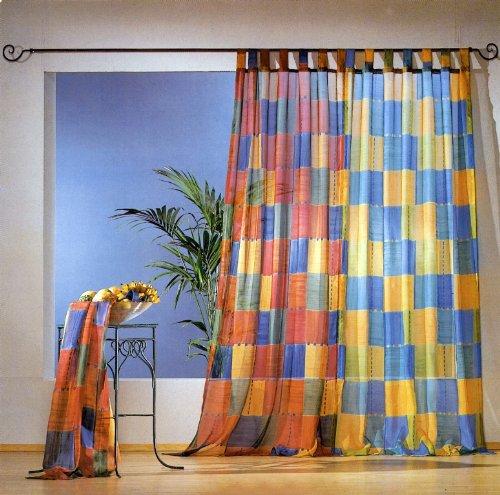 heimtexland Vorhang, Fertiggardine, 1 Dekoschal, trasnparent mit 7 Schlaufen aus duftigem, bedrucktem Voile, Höhe 245 cm x Breite 130 cm, Farbe Terra.