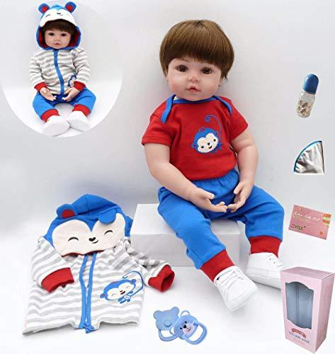 ZIYIUI Reborn Babys Junge Lebensechte 20 Zoll/50 cm Silikon Vinyl Reborn Toddlers Puppe Günstig Magnetisches Spielzeug