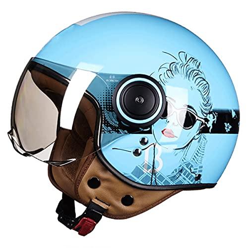 qwert Casco De Cara Abierta para Motocicleta Four Seasons Ligero Moto Jet 3/4, Medio Casco para Hombres Mujeres, Aprobado Dot/ECE, con Protección Solar Verano (54-60CM)