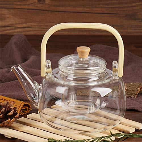 MBZL Teekannen Glas Teeservice Teekannen Handgefertigte Glaskessel Bambusgriff Topf Glas Sieb Teekanne Tee-Kessel Tee-Set-Blumen-Tee Kung Fu Teekanne