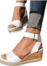 Mosstars Sandalias de cuña Mujer Verano 2019 Plataforma Tobillo Punta Abierta Mujer Retro Zapatos Mujer Sandalias Romanas Sandalias de Vestir Mujer Tacon Sandalias Mujer Verano Fiesta