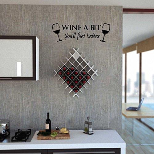 Adesivo4You.com Vinyl met citaat van WINE A BIT KITCHEN, vino keuken, zwart 55 x 18 cm