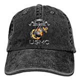 Hombre Mujer Gorras de béisbol, USMC Semper Fidelis Patriotic Men's Baseball Hat Retro Jean Snapback Cap