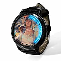 JoJo's Bizarre Adventureジョジョの奇妙な冒険LED手表 石英表 皮革表带 表盘印花 男士 女士通用 个性-A