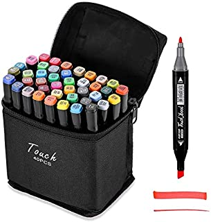 Beauenty 40 Colors Dual Tips Art Alcohol Marker Pens Permanent Sketch Markers Set for Kids and Adult Coloring Painting Man...