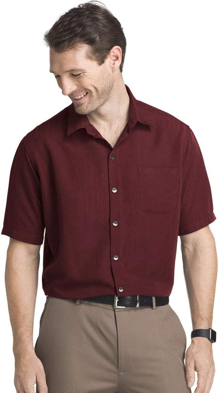 Van Heusen Men's Rayon Poly Engineered Panel Short Sleeve Shirt
