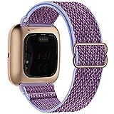 Fengyiyuda Elastico Nylon Cinturino Compatibile con Fitbit Versa / Versa 2 / Versa Lite/Versa SE, Regolabile Cinturinio per Smartwatch Donna Uomo Sportivo di Ricambio morbido Straps,Lilla