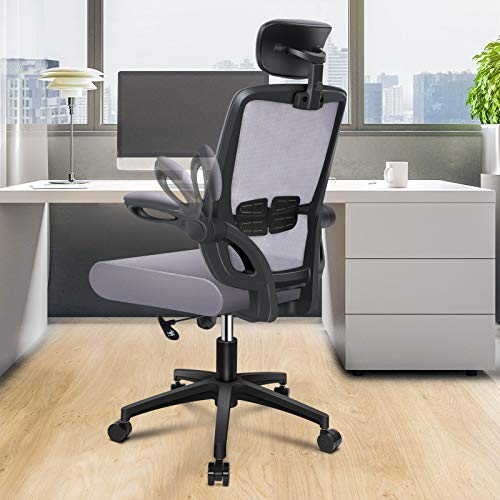 ENGBER Office Chair Ergonomic Desk Chairs Lumbar Support, Mesh Computer Chair with Flit-up Arms