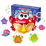 Joyjoz 3 in 1 Bath Bubble Machine, Automatic Bubble Maker for Toddlers with 12 Nursery Rhyme, 1000+ Bubbles Per Minute, Include Bubble Machine, 5 Stacking Cups, Cute Marine Animals, Gifts for Kids