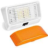 LED RV Exterior Porch Utility Light with Switch-Kohree 12V Replacment Light for RVs, Trailers, Campers, 5th Wheels. 320 Lumen, White Base, Included Clear and Amber Lenses Removable