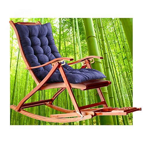 HT Schaukelstuhl, Schaukelstuhl Aus Bambus, 5-Fach 170 ° Rückenverstellung, Fußmassage Und Einziehbare Fußstütze, Liegetuhl, Der Je Nach Sonne Seine Farbe ändert. Tragen Von 300 Kg (Marineblau)