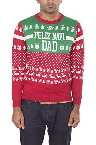 NOROZE Herren Damen Unisex Neuheit Prämie Weihnachten Pullover Pfefferkuchen Elfe Papa Daddy Claus Pulls Strickpullover (XL, Feliz Navidad Rot)