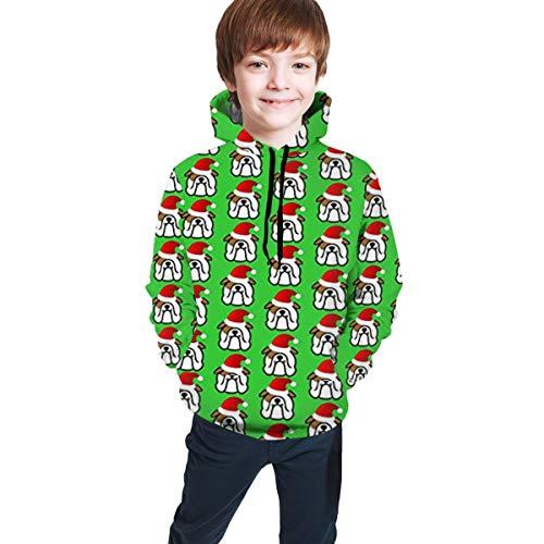 gjhj Englische Bulldogge Santa Weihnachten Hip-Hop Pullover Kapuzen-Sweatshirts Sport Outwear für Jungen Mädchen Teens Junior Gr. S, Schwarz