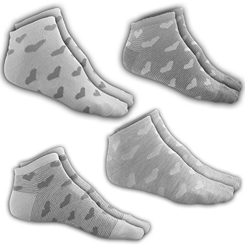 Sneaker-Herzen-Socken VCA | 4 Paar | Größe 35-38 | 4 vers. Muster| 4er XXL Pack| Strumpf in Hell-Grau | mit Gummib& | aus Baum-Wolle| für Frauen, Damen, Mädchen, Kinder