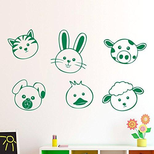 Sticker enfant IDEAVINILO : faces animalitos chat lapin Vache chien canard et Mouton-90 x 55 cm Contemporain vert