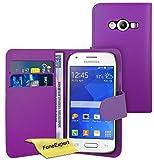 FoneExpert® Wallet Hülle Flip Cover Hüllen Etui Ledertasche Lederhülle Premium Schutzhülle für Samsung Galaxy Ace 4 SM-G357 + Bildschirmschutzfolie (Wallet Lila)