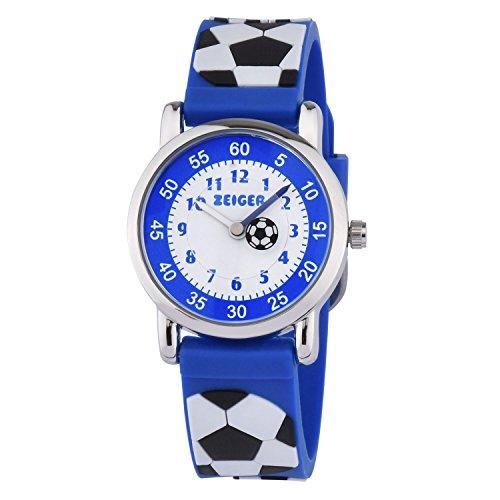 KZKR Kinderuhr Fußball Jungen Armband Uhr Kinder Armbanduhr Blau Sportuhr Lernuhr K091
