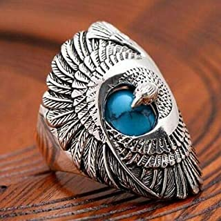 Anna Jewelry Vintage Bird Jewelry Silver Filled Turquoise Biker Eagle Ring Men Jewerly Sz6-10 (10)