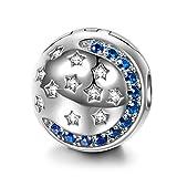 NINAQUEEN Charm per Pandora Charms Buonanotte Stella Blu Regalo di Natale Donna Regali per Lei Argento 925 Regali per la Madre Fidanzata Moglie