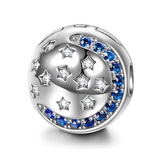 NINAQUEEN Pandora Charms angepasste Charm Geschenke für Frauen Stern Blauer Mond Silber 925 Zirkonia Emaille Schmuck Damen mit Schmuckkästchen Damen Geschenke für Mama✿