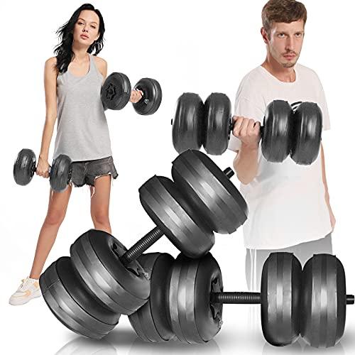 KKTECT 2 Stück wassergefüllte Hanteln Tragbare Reisehanteln Wassergefüllte Gewichte Hanteln Training 15-20kg, für freie Gewichte Set für Muskelaufbau, Kraftaufbau, Gewichtsverlust (Schwarz)