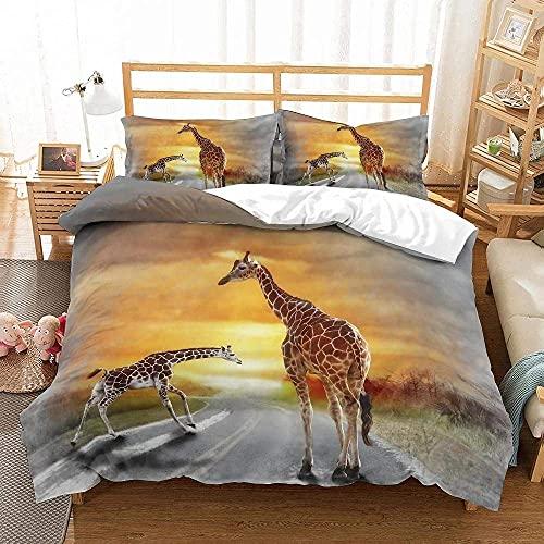 Lyyeaz Juego de ropa de cama de 3 piezas Jirafas Familia Ropa de cama Golden Sunset Microfibra Funda de edredón Niñas Colcha Dormitorio Decoración Individual 135x210cm