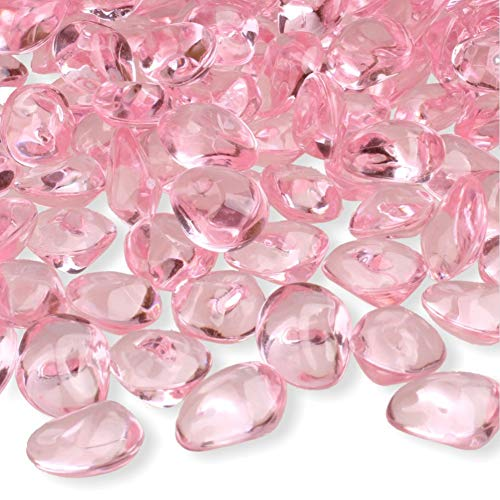 PMLAND 300 Pcs 16mm Soft Pink Acrylic Stones Table Scattering Wedding Bridal Baby Shower Party Decorations Vase Fillers, Cute Irregular Almond Shape