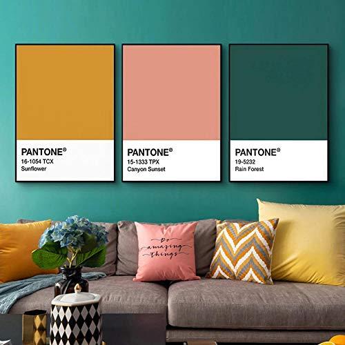 woplmh Pantone Color Wall Art Decoración para el hogar Póster de Pared Rosa Amarillo Verde Lienzo Moderno Pintura para Sala de Estar Diseño Decorativo para el hogar / 50x70cmx3Pcs-Sin Marco