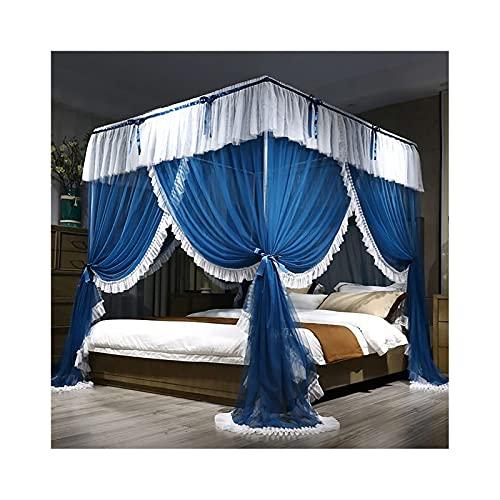 Pkfinrd Mosquitera para la Carpa de la Cortina del Dosel de la Cama con el Marco - 3 Apertura - Mosquitera Plegable para niñas y Adultos Gemelo a Cama King Size. (Color : Blue, Size : 2.0m Bed)