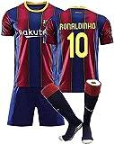 Camiseta Jerseys-Ronaldinho # 10 Jerseys Men's Football Jersey, Jersey de fútbol de Ronaldinho Jersey Jerseys de fútbol para niños, camisetas de entrenamiento de equipo para niños, camiseta + pantalon