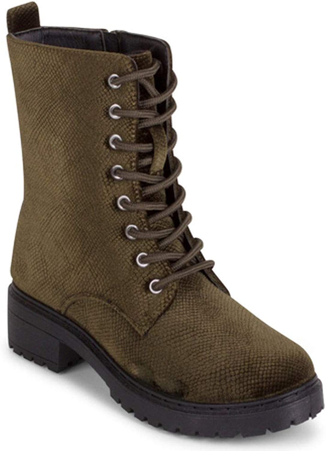 Wanted  Patrol Lace-up Snake Velvet Combat Boot