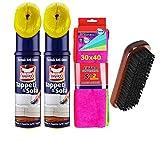 OMINO BIANCO Pulitore per tappeti e sofà, 2 confezione da 300ml+ pacco 7 pezzi panni microfibra 30x40 + spazzola pulizia tappeti