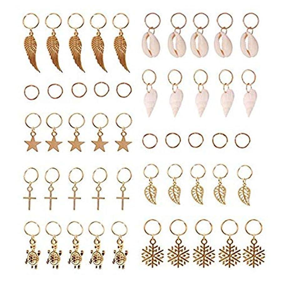 ペルセウス奨励急いでSODIAL ヘアブレイドリング、50個ヘアループクリップ金の指輪 シェルリーブズスターコンクスノーフレークペンダントチャームセットヘアークリップ ヘッドバンドアクセサリー