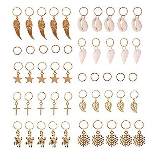 Gaetooely Hair Braid Rings, 50Pcs Hair Loops Clips Gold Shell Leaves Star Conch Snowflake Pendant Charms Set Hair Clip Headband Accessories