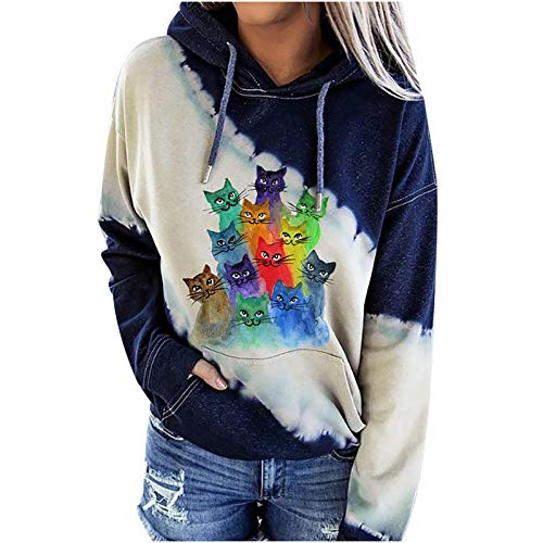 Lozeny Women Cow Dog Paw Graphic Sweatshirts Hoodies Colorblock Drawstring Hooded Sweaters Long Sleeve Pullover Shirts Tops Yellow