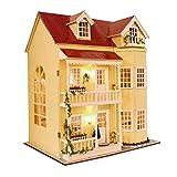 LiChaoWen Casa Grande Casa Casa Muñeca Muebles DIY Dollhouse Madera DIY Dy Doll House Miniatura Casa de Muñecas Muebles Niños Juguete LED Casas de muñecas (Color : Red, Size : 48×38 cm)