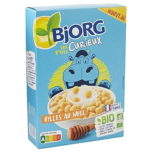 Bjorg Les P'tits Curieux – Billes au Miel – Céréales Enfants Bio pour le Petit Déjeuner – Nutriscore A – 1 Paquet de 375 g