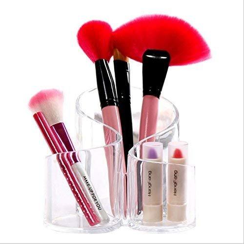 VPlus Clair Acrlic Vanity Organiseur de cosmétiques Trio Gobelet pour Meuble Armoire de Rangement Idéale pour pinceaux de Maquillage et Produits de beauté