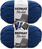 Bernat Blanket Yarn - Big Ball (10.5 oz) - 2 Pack with Patterns (Lapis)