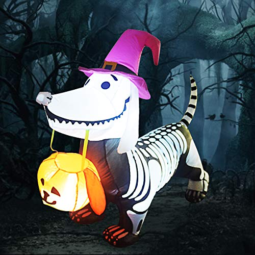 GOOSH 5FT Inflatable Halloween Skeleton Dog Blow Up Inflatables Halloween Outdoor Yard Decoration (DJ-WS-69104)